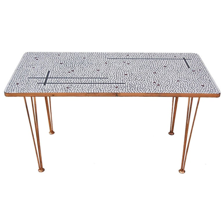 Glass Mosaic Side Table with Copper Finish by Gerard Anders, 1962 Former DDR