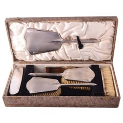 Antique Art Deco Sterling Silver Brush Mirror Set, 1934