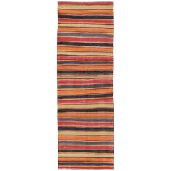 Multicolored Vintage Turkish Kilim Rug with Horizontal Stripe Design