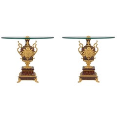 French 19th Century Renaissance St. Marble and Ormolu Candelabra Low Tables