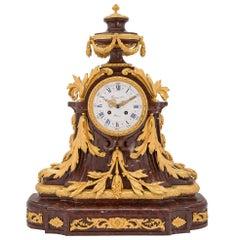French 19th Century Louis XVI St. Ormolu & Marble Clock by Raingo Frères, Paris