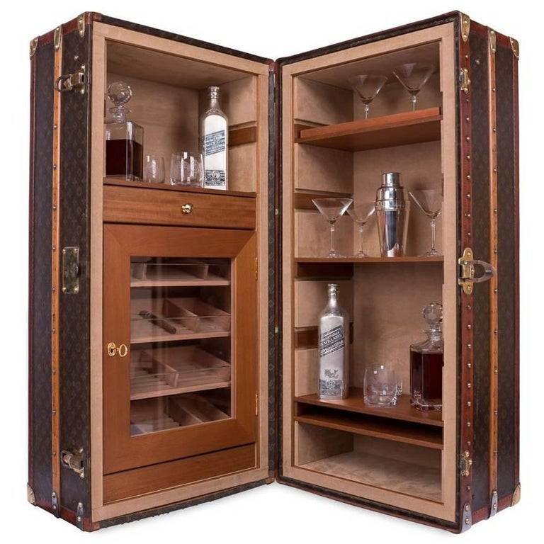 antique louis vuitton trunk recently customized with cocktail bar and humidor at 1stdibs. Black Bedroom Furniture Sets. Home Design Ideas