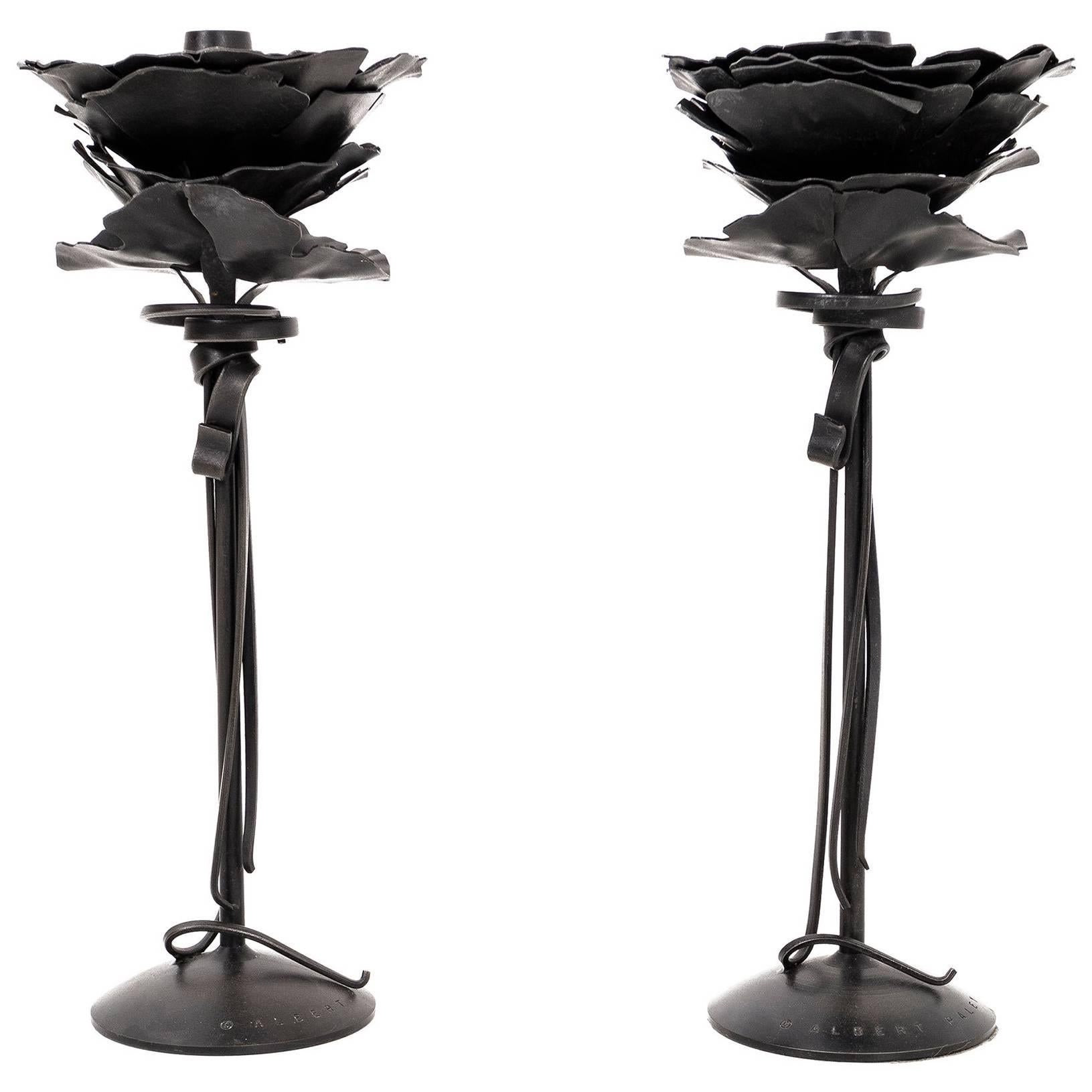 Pair of Albert Paley Blossom Candlesticks