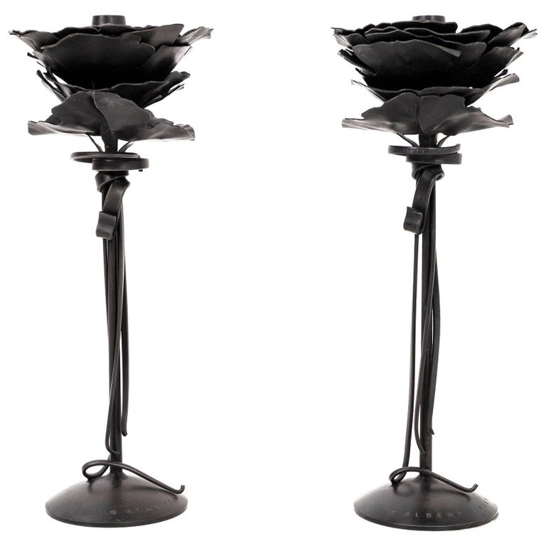 Pair of Albert Paley Blossom Candlesticks For Sale