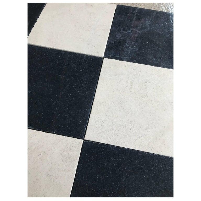Black and White Limestone Checkerboard Flooring For Sale
