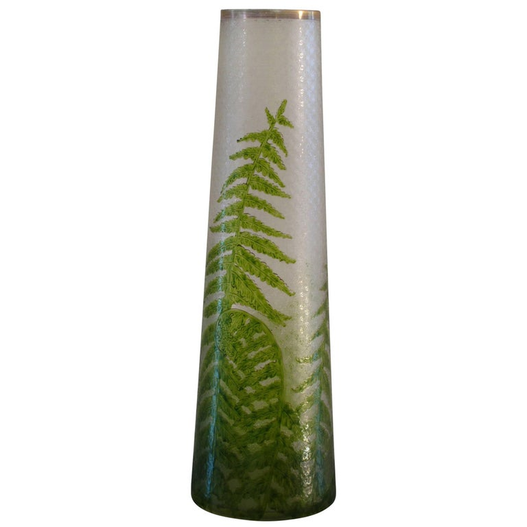 Tall French Textured Art Glass Vase With Hand Painted Fern Design