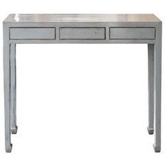 Grey Three-Drawer Console Table