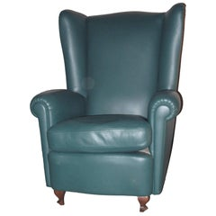 20th Century High Backed Leather Bergere Armchair