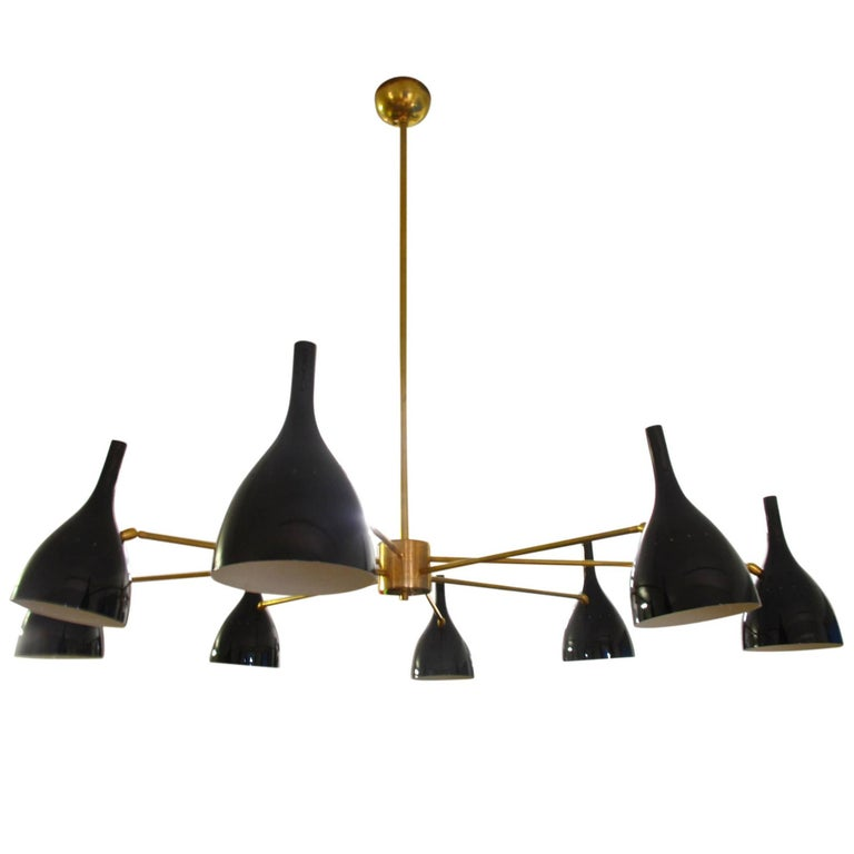 Vintage Eight-Arm Brass Italian Spider Chandelier in the Style of Stilnovo, 1950 For Sale