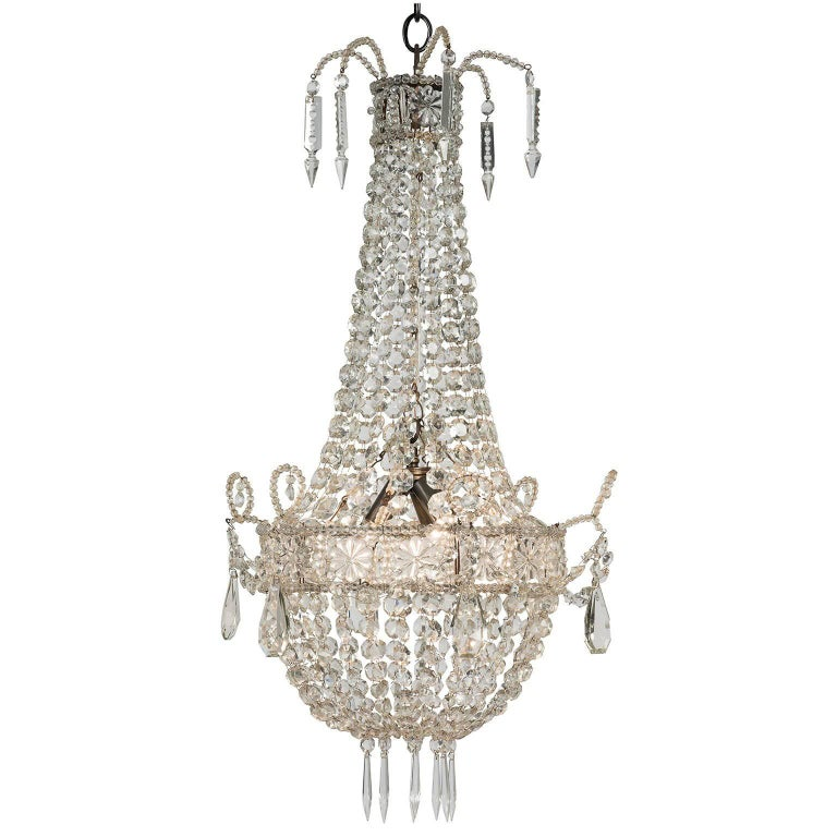 Small French Crystal Chandelier, circa 1900 For Sale