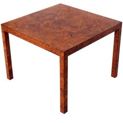 Clean Lined Burl Wood Side or Center Table