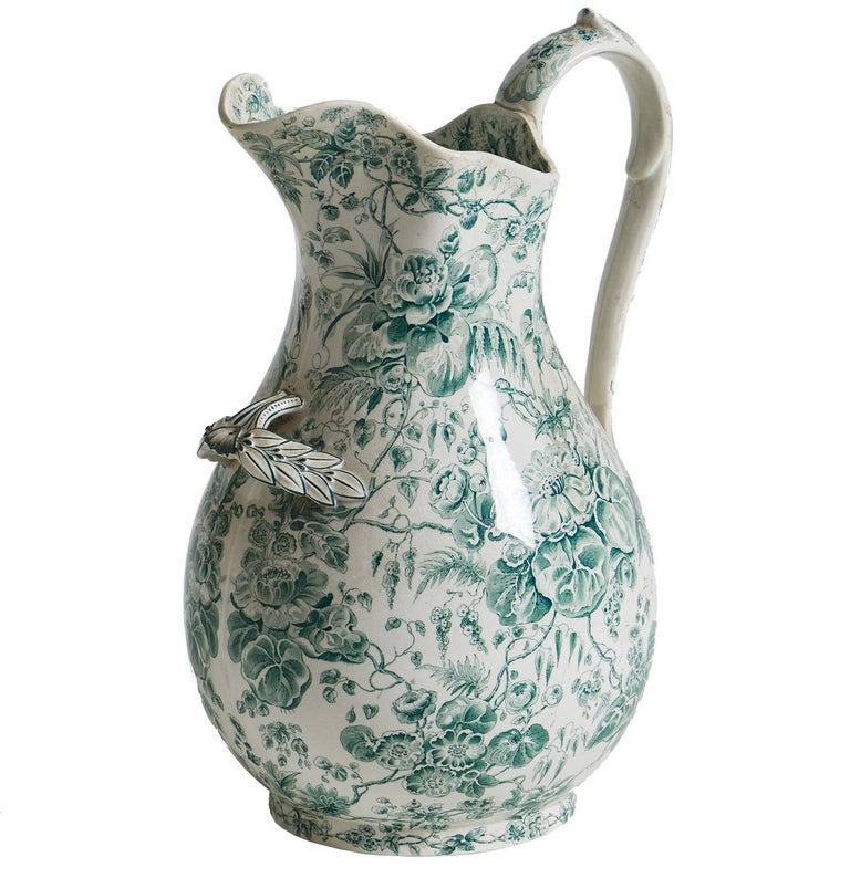 French Green Floral Pitcher, circa 1880 1