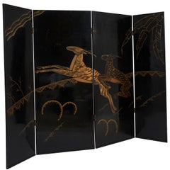 French Art Deco Black Lacquer Screen with Gilt Gazelles, circa 1935