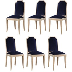 French Modern Blue Velvet Bleached Set of Six Dining Chairs, 1940s