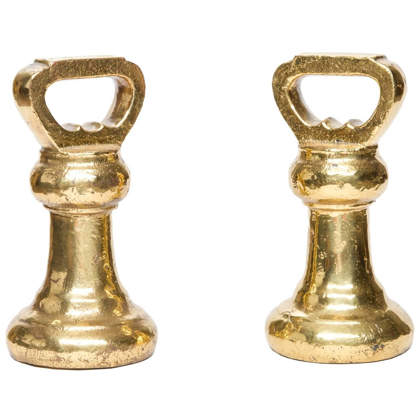 19th Century Pair of Brass Weights