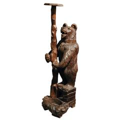 19th Century Black Forest Bear Pedestal Umbrella Stand