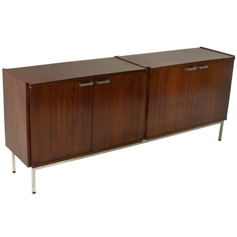 Mid-Century Modern Brazilian Exotic Hardwood and Chrome Double Buffet Cabinet