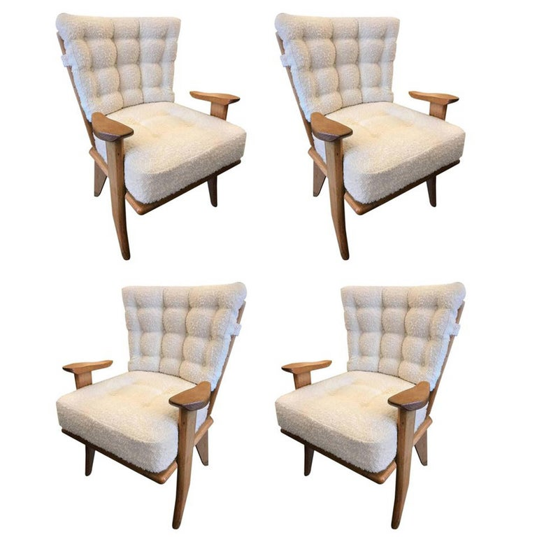 Set of Four Reupholstered Guillerme et Chambron Attributed Armchairs, circa 1960 1