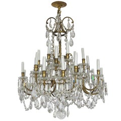 19th Century Baccarat Bronze and Glass Chandelier, 21 Lights