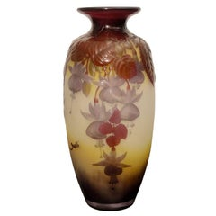 Gorgeous Fuchsias Souffle Vase Emile Galle, Nancy, France
