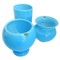 Opaque Blue Glass Vases by Erik Hoglund