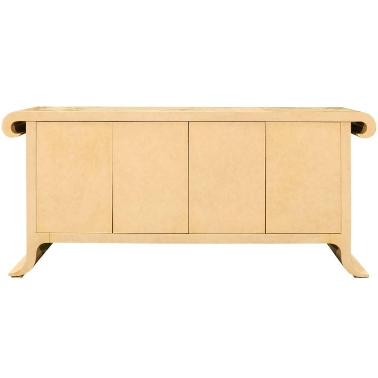 Sleek and Elegant Hand-Painted Credenza by Allesandro for Baker, circa 1985