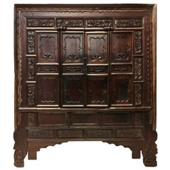 Massive Chinese Antique Carved Armoire, Rustic Northern Style