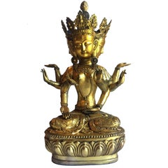 Brass Tibetan Tara, Multiple Faces and Arms