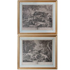 Pair of 18th Century Sporting Prints after Paintings by Deportes in Gilt Frames