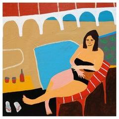 'Mandy's Modesty' Figurative Painting by Alan Fears Folk Art