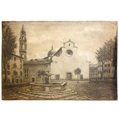 Italian Grisaille Painting of the Florentine Basilica di Santo Spirito, 1900s