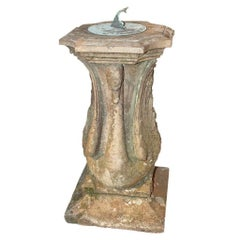 English 1850 Terracotta and Bronze Sundial with Swans and Dolphin on Square Base