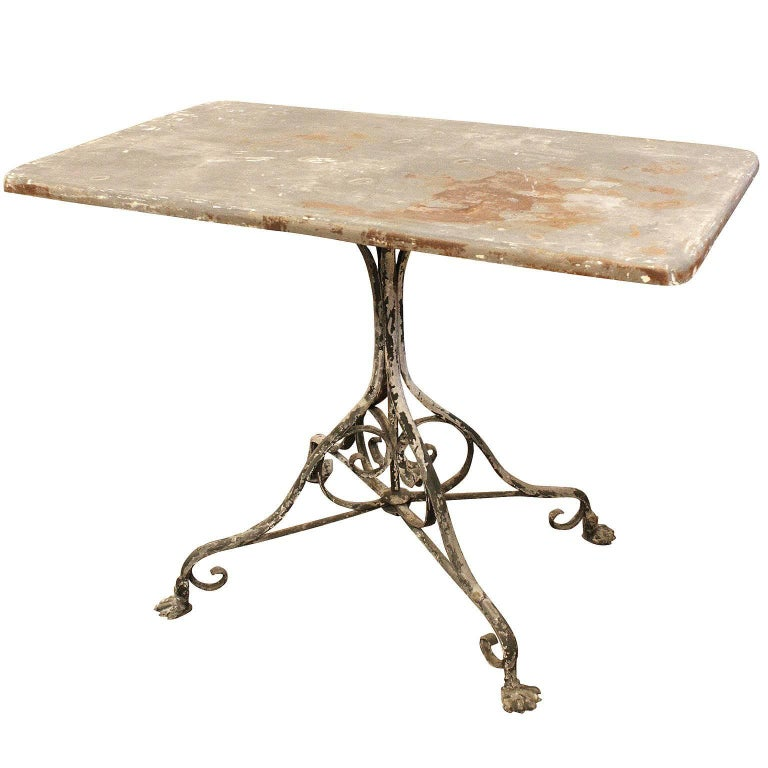 French Outdoor Wrought Iron Garden Table from Arras with Rectangular Top