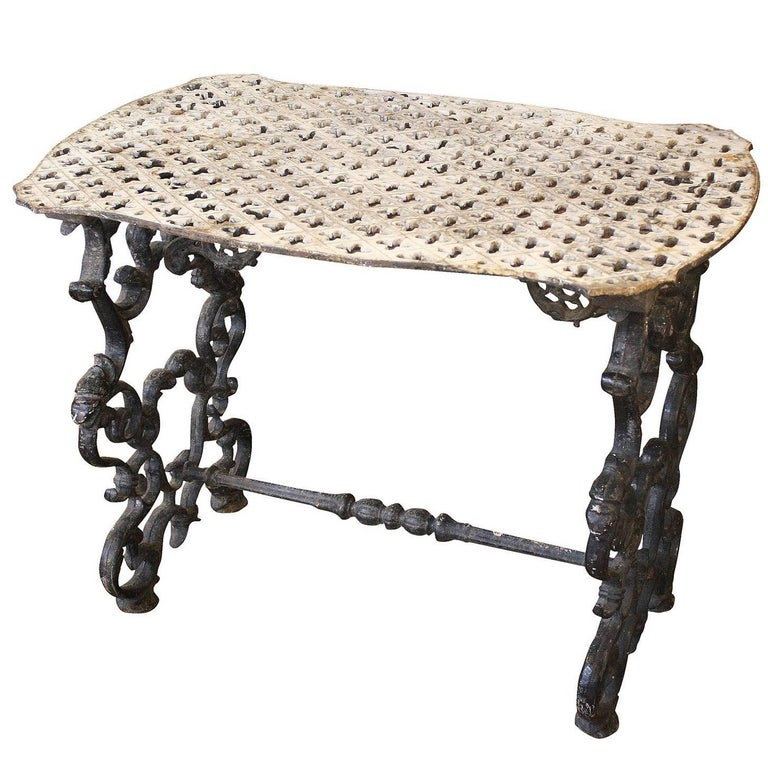 French wrought iron side table with cruciform pierced top for Wrought iron side table base
