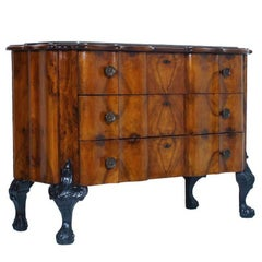 1900s Venetian Baroque Commode Chest of Drawers in Burl Walnut with Marble Top
