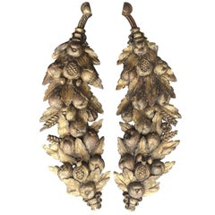 19th Century Pair of Continental Hand-Carved Fruit and Leaf Appliques