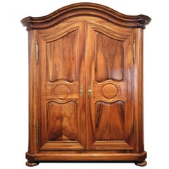 18th Century Baroque Wardrobe in Solid Walnut