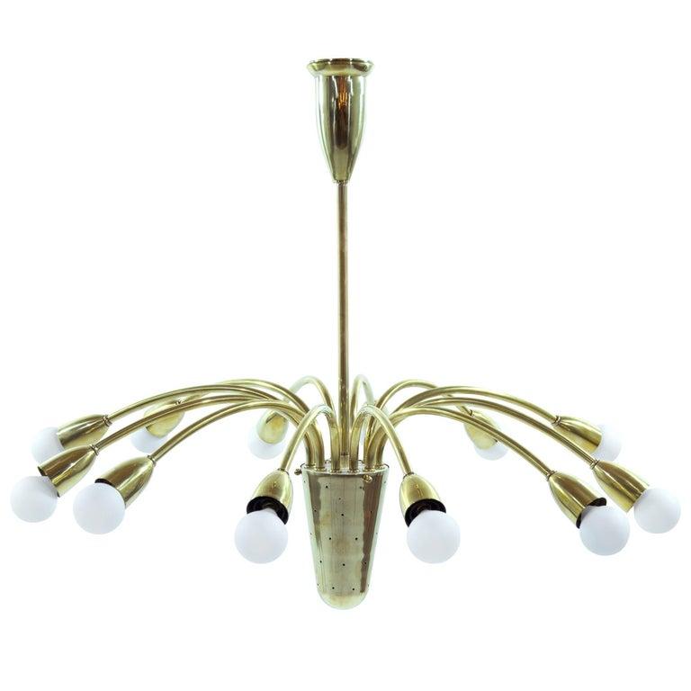 Brass Sputnik Chandelier, Italy 1950s