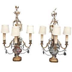 Pair of Rare 20th Century Candelabra Girandoles in the Style of Baguès