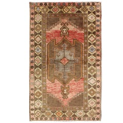 Vintage Turkish Oushak Rug with Tribal Design in Rose, Brown and Yellow