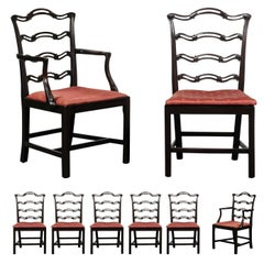 Set of Eight George III Style Ribbon Back Mahogany Dining Chairs