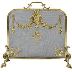 Louis XVI Style Brass Fire Screen