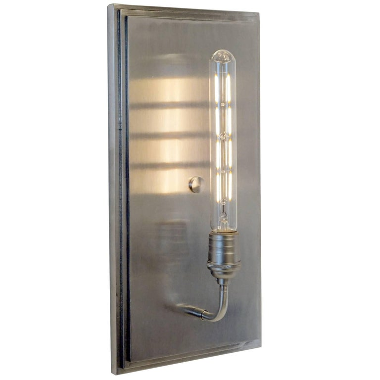 Contemporary, Minimal Interior Flat Wall Sconce Lantern in Brushed Nickel For Sale
