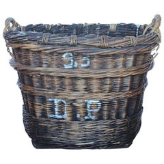 Large French Vineyard Harvest Wicker Basket, Two Available