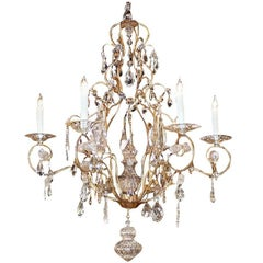 Italian 19th Century Six-Light Crystal Chandelier with Gilt Iron Armature
