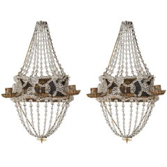 Pair of Crystal Beaded Wall Sconces