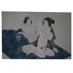 Original and Framed Shunga Print by Kitagawa Utamaro
