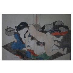 Oriiginal and Framed Shunga Prints by Kitagawa Utamaro
