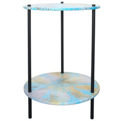 Ambrosia Accent Console Table with Oracle Pattern Disks and Black Steel Legs