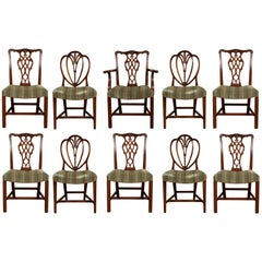 Set of Ten Compatible Carved Mahogany Dining Chairs